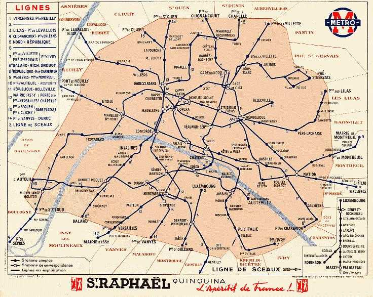 Paris in 1940 (an alternative scan of the map above; scan a gift of Bernard